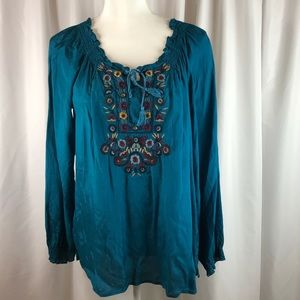 Vintage America | Blue Embroidered Blouse | Size M